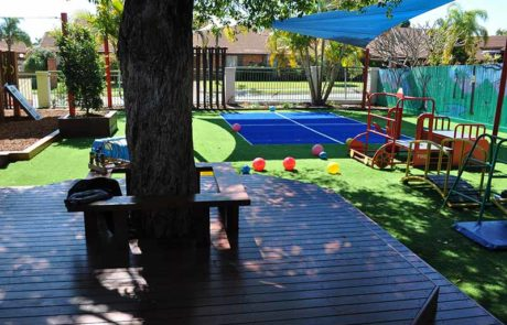 Mermaid Waters Childcare Centre Makeover Extensive decking trees activity courts
