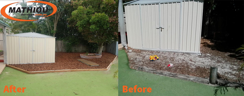 Bongaree storage shed Before After