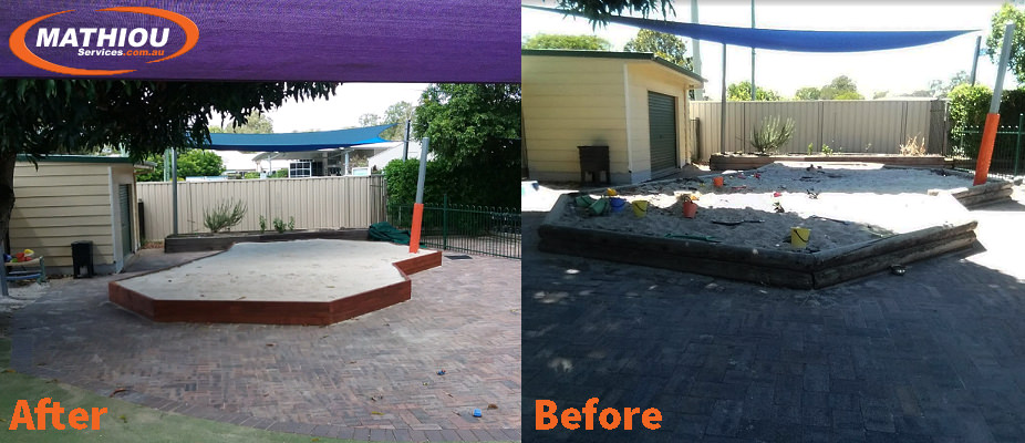 Affinity sandpit before and after