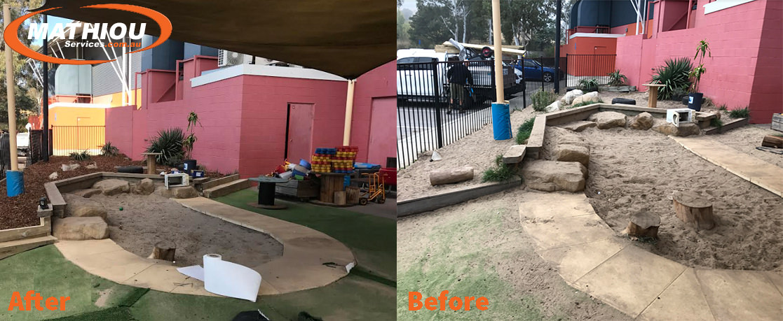 Bruce sandpit Before and After