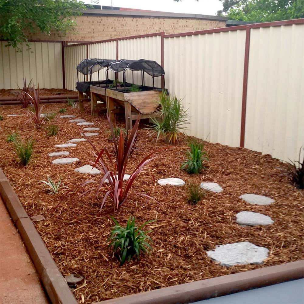 Sensory Garden - bark - mulch - stepping stones - vegetable garden