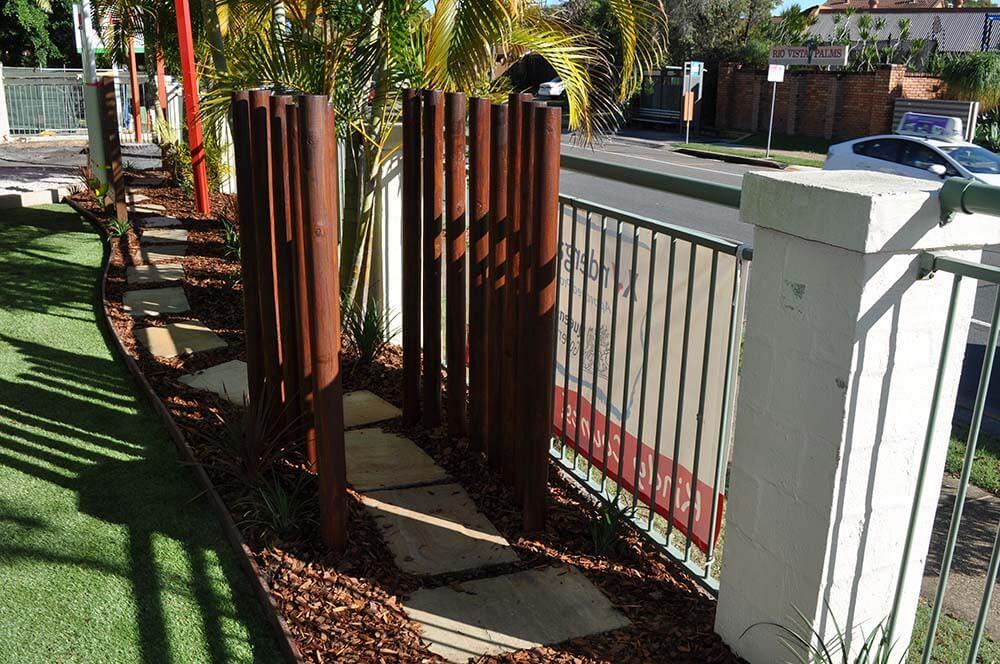 gardening walk steps and plants