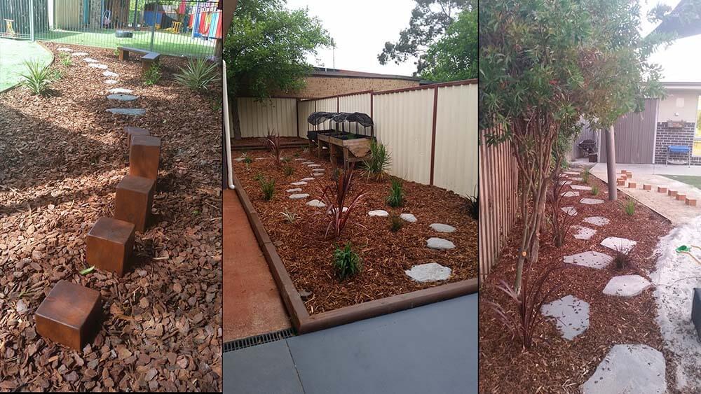 plants in garden and walk steps