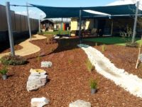 landscaping - playscape- dry creek bed with stepping path