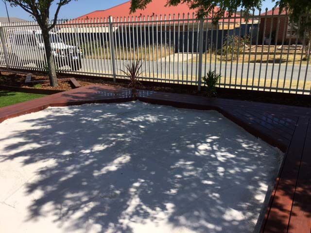 sand pit and meta fencing
