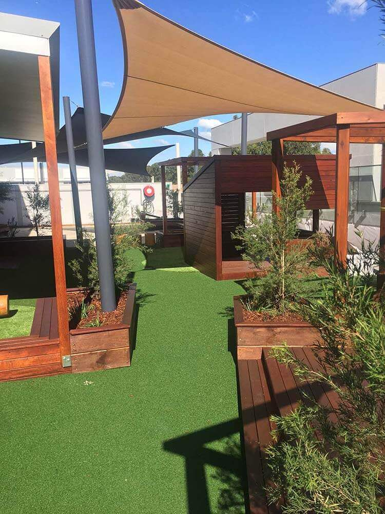 Shade sails, Astro Turf and plants