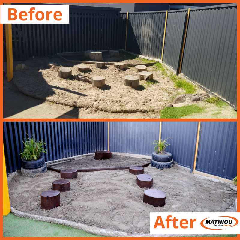 Simple upgrades to help make your centre more appealing Building and Construction Services Childcare Centre Makeovers Community Gardening & Landscaping Services Maintenance and Repair Services Painting and Decorating Services  timber edging sandpit topup repairs painting new soil gardening floor polishing floor maintenance childcare centre barkpit top up