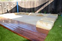 Upgrade Sand pit with timber and sandstone surrounds