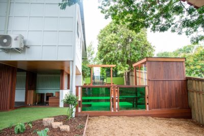 Building extension and playground entrance