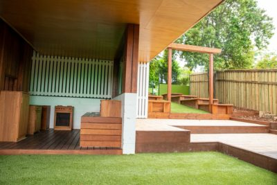 carpentry and landscaping for entrance and kids play area