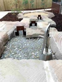 water feature brick and pebbled concrete