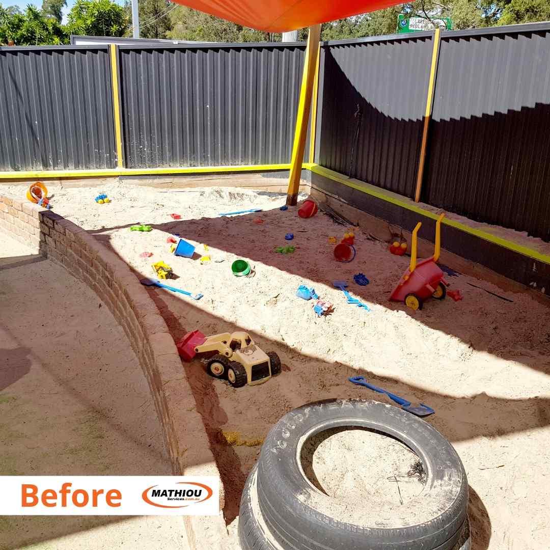 Loganholme - sandpit topup -Before