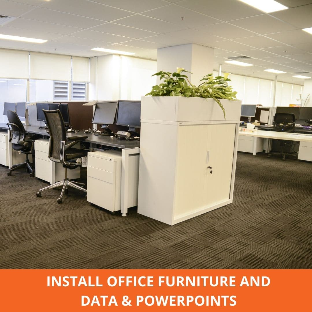 Office furniture and data power point install