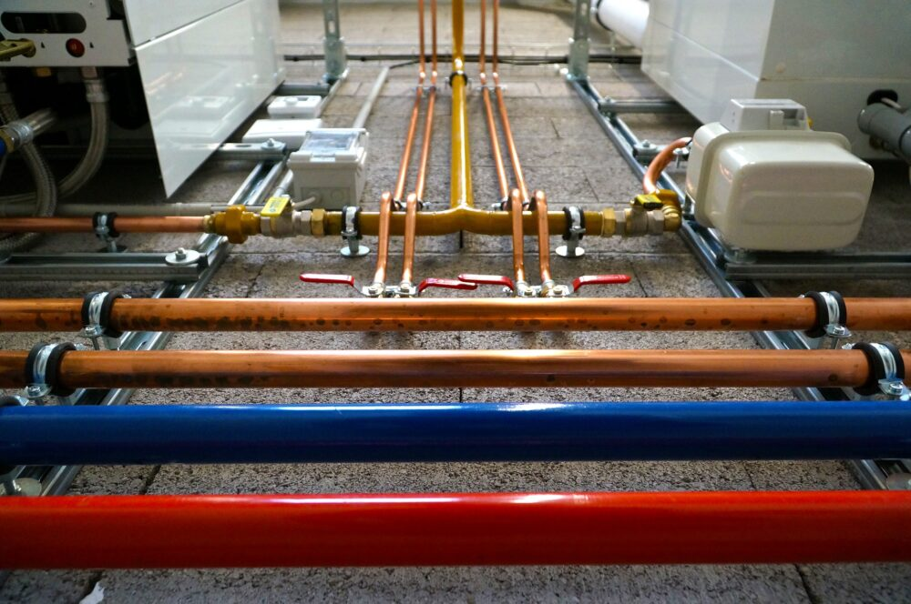 Plumbing pipes in commercial building