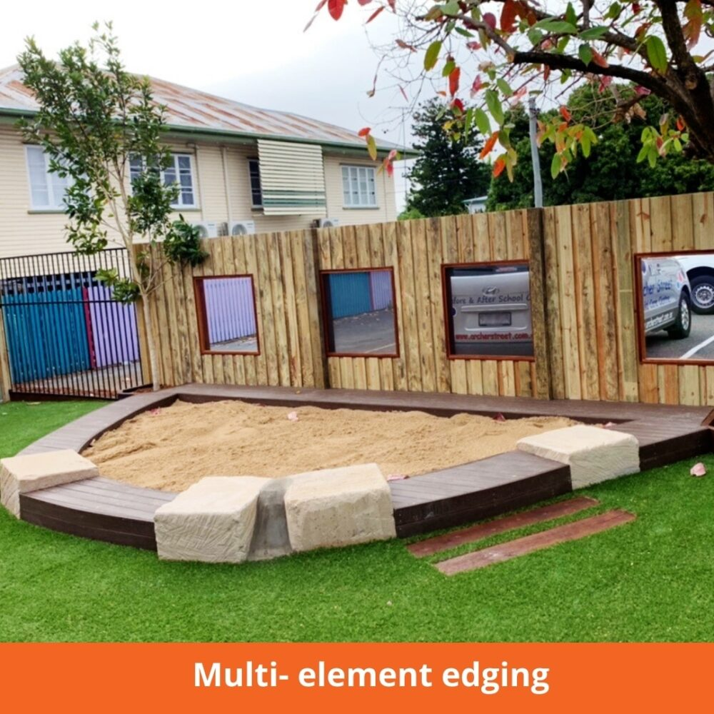 Multi- element edging - timber and sandstone