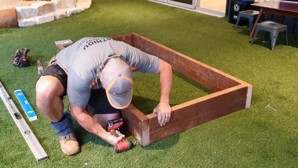 building a planter box step