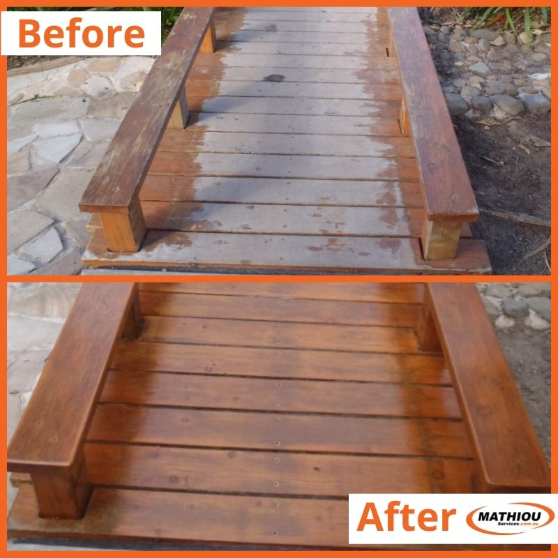 Painting before and after - re-staining timber