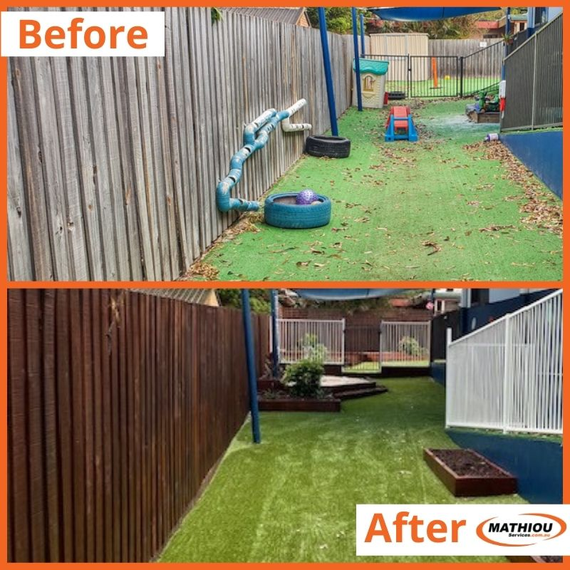 Painting before and after - fence